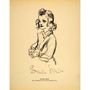 1938 Simone Simon French Film Actress Henry Major Litho   Original