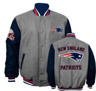 New England Patriots Grey Wool Varsity Jacket