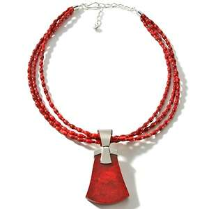Red Coral Sterling Silver Pendant with 18 Bead Necklace