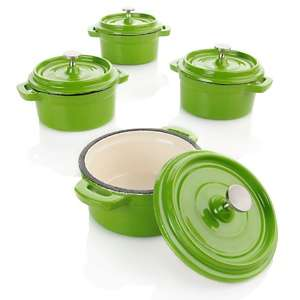 Puck Enamel Coated Cast Iron 8 piece Mini Cocotte Set at HSN
