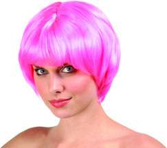 Includes one theatrical quality fashion model hot pink wig.