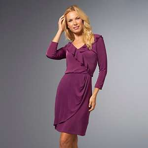 Slinky® Brand 3/4 Sleeve Mock Wrap Ruffled Dress