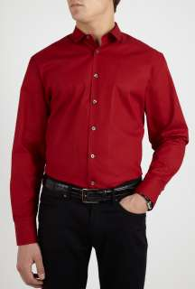 PS Paul Smith  Deep Red Penny Collar Shirt by PS Paul Smith