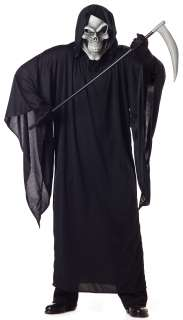 Grim Reaper Plus Adult Costume   Includes a polyester robe with hood