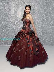 Storage New A line Strapless Burgundy Wedding Dress Bridal gown Prom