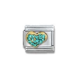 Blue Zircon Gold CZ Heart Birthstone Heart Italian Charm Bracelet Link