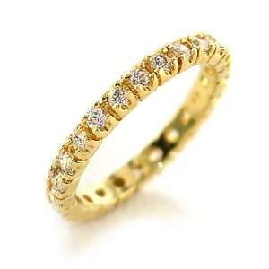 Jewelry   1 Carat Clear CZ Gold Tone Eternity Ring SZ 5 Jewelry