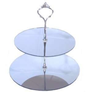 Large 2 Tier Silver Acrylic Mirror Circle Cake Stand 25cm 30cm Overall