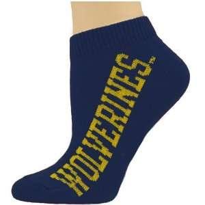 Wolverines Ladies Navy Blue Team Name Ankle Socks