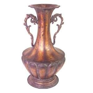 Asian Inspired Antique Bronze Metal Vase 16.5 #85216