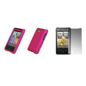 Aria   Premium Hot Pink Rubberized Snap On Cover Hard Case Cell Phone