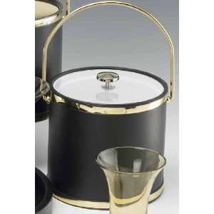 Kraftware 62264 Black Matte with Brass 3 Quart Ice Bucket