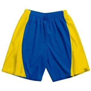 A4 Adult Mesh/Dazzle 9 Inseam Basketball Shorts ROYAL/GOLD A3XL (9