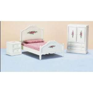 Dollhouse Miniature White with Flowers Bedroom Set