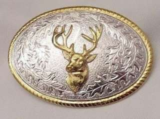 DEER HEAD STERLING SILVER/GOLD PLATED BELT BUCKLE Clothing