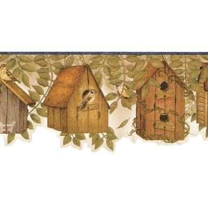 Brown and Navy Country Birdhouses Wallpaper Border: Kitchen & Dining