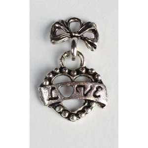 Package of 36 Silver Metal Love Heart Charms for