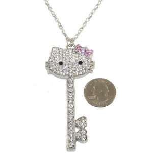Hello Kitty Big Crystal Key Necklace with Sparkling Pink Bow