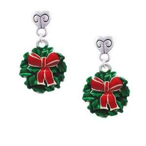 Wreath with Bow Mini Heart Charm Earrings Arts, Crafts & Sewing