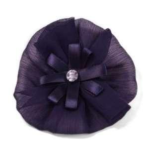 Organza Flower with Rhinestone Brooch Pin Hair Clip