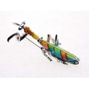 Rhinestone Colorful Enamel Silver Tone Mantis Insect Fashion Brooch