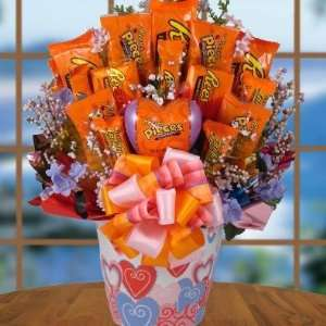 Reeses Valentines Day Candy Bouquet Gift Basket