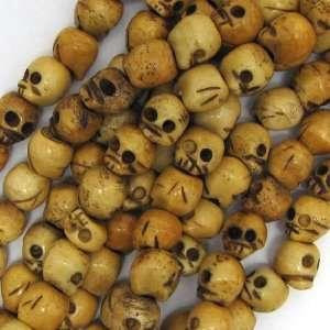 8x9mm ox bone hand carved skull beads 8 strand 22pcs