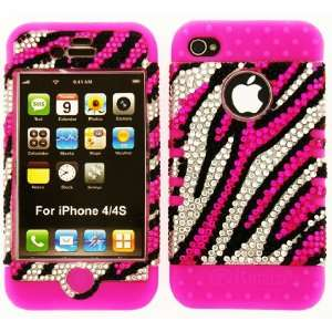 + Hot Pink Zebra Crystal Rhinestone Snap Cell Phones & Accessories
