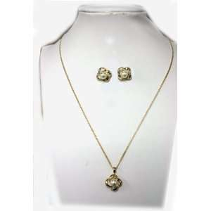 Gold Chain with Faux Pearl Flower Necklace and Earring Set   Earring