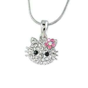 Small Hello Kitty 0.75x0.5 Charm Pendant with Pink & White Crystals