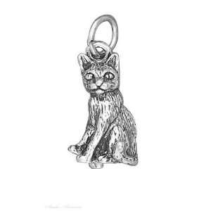 Sterling Silver 3D Sitting Kitty Cat Charm Jewelry