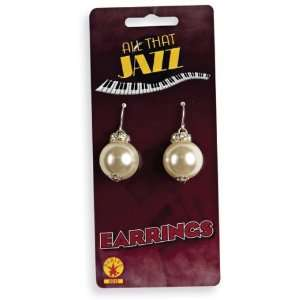 Lets Party By Rubies Costumes Pearl Earrings / White   One