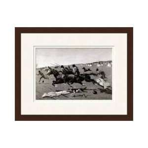 Indian Village Routed Geronimo Fleeing From Camp Framed Giclee Print