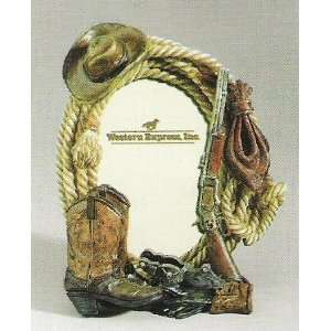 Western Design Cowboy Boot & Hat Table Top Picture Frame
