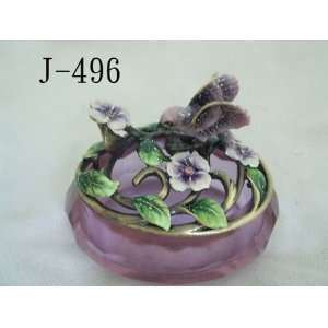 Glass Jewelry Trinket Box W Bird and Crystal Flowers Home & Kitchen