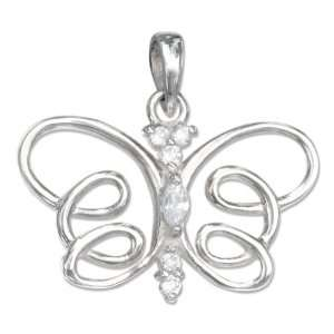 Silver Cubic Zirconia Butterfly Pendant with Open Wings Jewelry