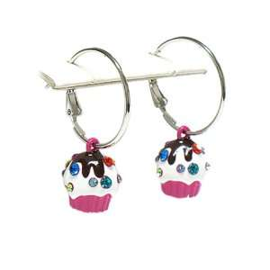 Cute Hot Pink Cupcake Hoop Earrings Fashion Jewelry