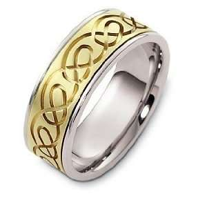 14 Karat Designer Two Tone Gold Celtic Wedding Band Ring