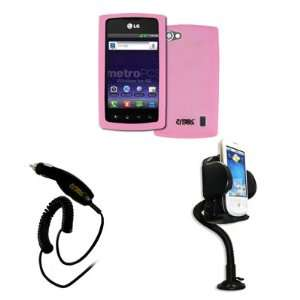 Cover (Pink) + Car Dashboard Mount + Car Charger [EMPIRE® Packaging