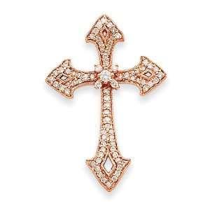 14k Rose Gold Diamond Cross Pendant Jewelry