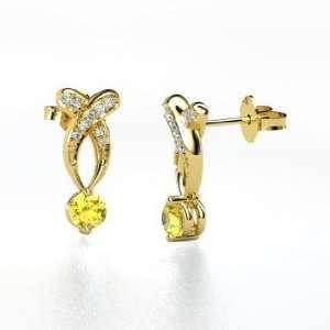 Paisley Drop Earrings, Round Yellow Sapphire 14K Yellow Gold Earrings