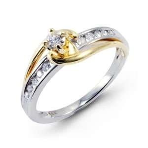14 White Solid Gold Two Tone 0.32 Ct Round Diamond Ring Jewelry