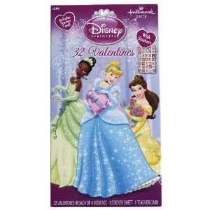 Disney Princess 32 Valentine Cards with Stickers Health
