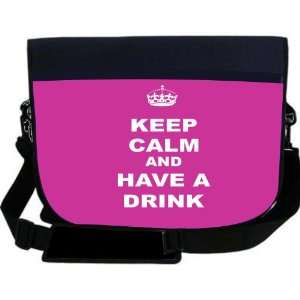 Keep Calm and have a Drink   Pink Rose Color NEOPRENE Laptop Sleeve
