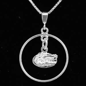 Florida Gators Sterling Silver Open Drop Necklace