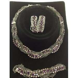 style purple rhinestone necklace earring bracelet set