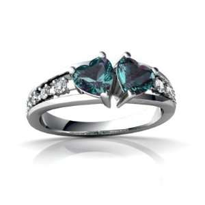 Gold Heart Created Alexandrite Heart to Heart Ring Size 4.5 Jewelry