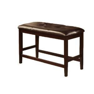 Brown Faux Leather Two Seater Counter Height Bench