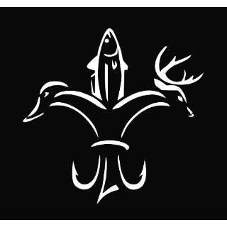 Duck Fish Deer Fleur De Lis Die Cut Vinyl Decal Sticker 5 White