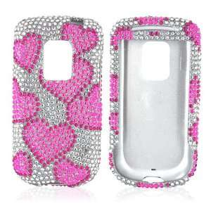FOR SPRINT HTC HERO BLING CASE PINK HEARTS CLEAR GEMS Electronics